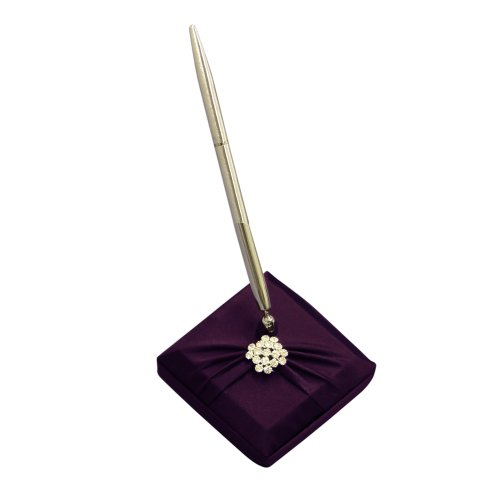 Ivy Lane Design Garbo Collection Pen and Penholder Set for Weddings, Eggplant