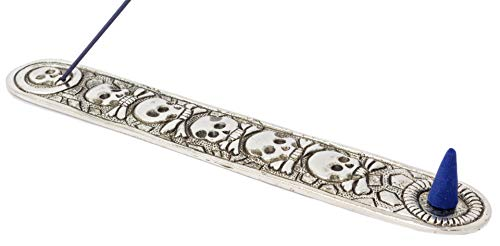 Piquaboo Quemador de Incienso con cenicero y Calaveras de Metal – Longitud 23 cm