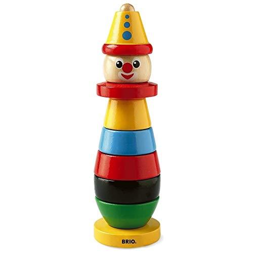 BRIO - 30120 - Clown à empiler - En bois FSC - Jouet d'éveil premier age - Pour apprendre à trier et à empiler - A partir de 12 mois