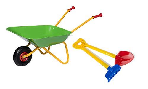 Rolly Toys 272846 Kruiwagen, set met schepje en hark (metalen kruiwagen tot 25 kg belastbaar vanaf 2 jaar 1 x 2 jaar)