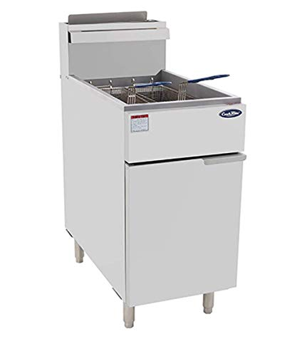 CookRite ATFS-50 Commercial Deep Fryer with Baskets 4 Tube Stainless Steel Natural Gas Floor Fryers-136000 BTU