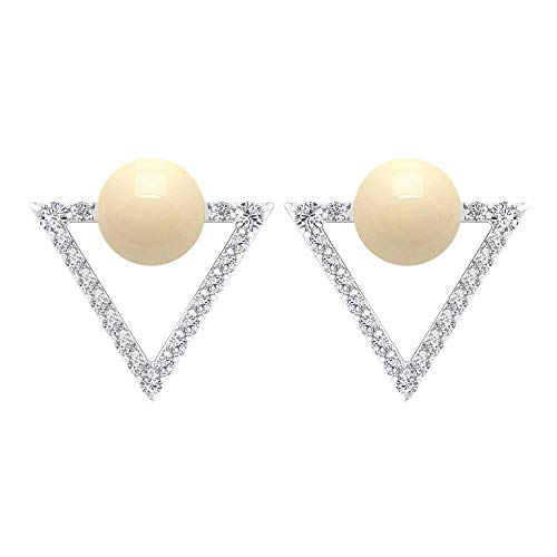 Pendientes de perlas cultivadas japonesas de 2,22 quilates, pendientes de diamantes, pendientes de triángulo abierto, pendientes de tuerca de orotornillo hacia atrás
