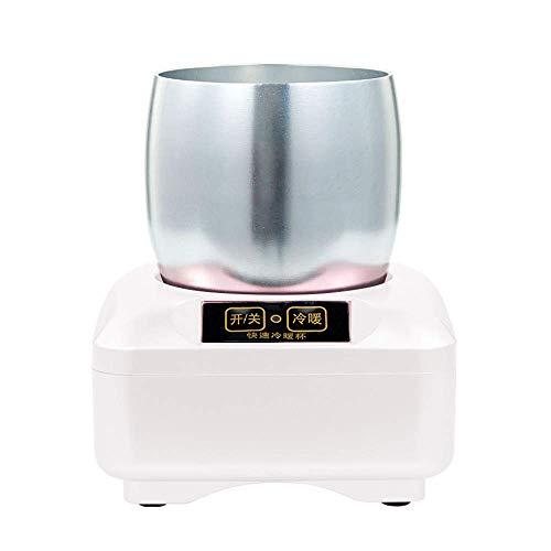 2 In1 Warmer Cup Cooler Desktop-Getränkebecher Kühl Cup-Kühler for Office Home Desk bedienen, schnell Heizung und Kühlung Smart-Cups, for Wasser Milch Wein, Cola, Bier, Dosen Getränke Reise, Rose Gold