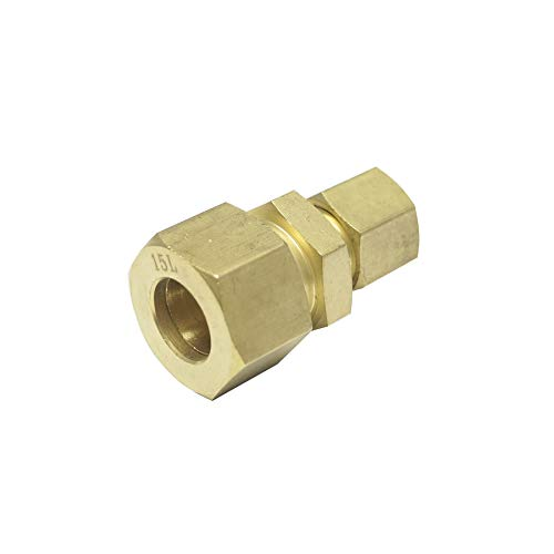 Reduced Union Coupling, Brass Material, 22L x 8L, for 22MM OD Tube x 8MM OD Tube, Light Series