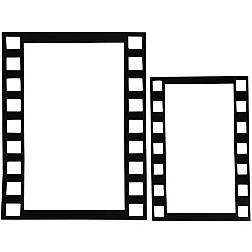 Juvale 4-Pack Hollywood Movie Filmstrip Photo Booth Party Props, 2 Large and 2 Small Handheld Border Frames