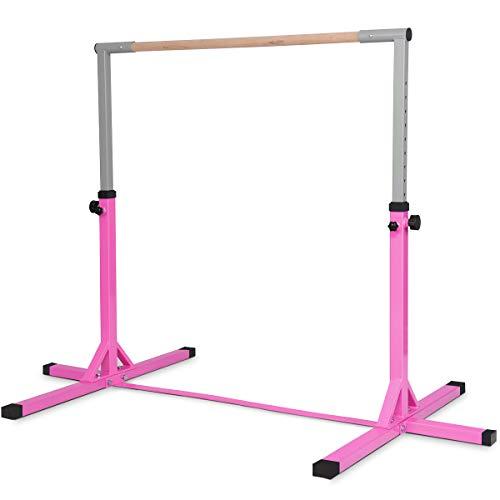 COSTWAY Sbarra Portatile da Balletto da Bambini, Sbarra da Balletto Regolabile a Altezza, 200 x 121 x 91/150 cm, Due Colori Disponibili (Rosa)