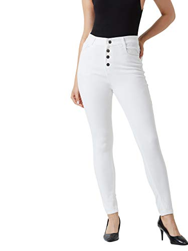 Miss Chase Women's Denim Skinny Fit High Rise Jeans(MCSS19DEN08-41-82-34,White,34)