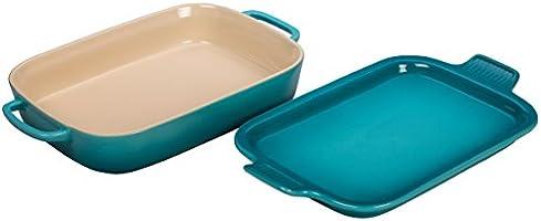 "Le Creuset Stoneware Rectangular Dish with Platter Lid, 14 3/4""x9""x2 1/2"" (2.75 qt.), Caribbean"