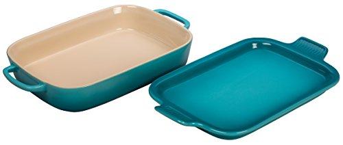 Le Creuset Stoneware Rectangular Dish with Platter Lid, 14 3/4'x9'x2 1/2' (2.75 qt.), Caribbean