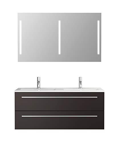 Badmeubelset Libato - 60 90 120 cm breed - wit of antraciet hoogglans - badkamermeubels dubbele wastafel met onderkast spiegel met verlichting Sieper Jokey modern 120 antraciet