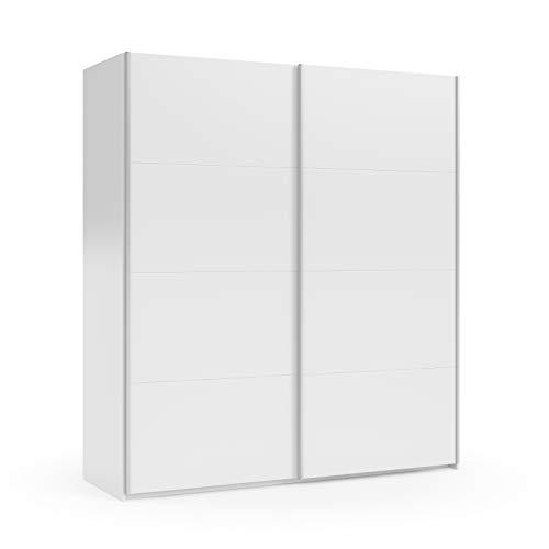 Esidra Armadio Guardaroba Moderno, 2 Ante scorrevoli, Laminato Bianco, 200 x 180 x 63 cm