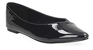 Dejavu Patent Side Faux-Leather Pointed-Toe Ballerinas for Women