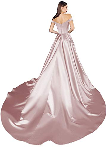RTB Women's Off Shoulder Long Split Satin A Line Ball Gown Prom Dresses 10 Blush