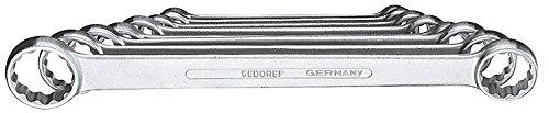 GEDORE 4-8 Doppelringschlüssel-Satz, gerade, Ausführung nach DIN 837, Form B, flach, mit dünnwandigen Ringen, verchromt mit UD-Profil, 8-teilig, 6-22 mm