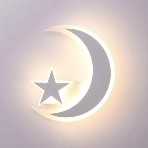 FBBULES Lampada da parete LED moderna Creatività stella Luna Lampada da comodino acrilico bianco Applique da parete per Soggiorno Camera da letto