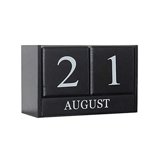 JVSISM la DecoracióN NóRdica de la Sala de Estar del Calendario de Madera DecoracióN Hogare?A DecoracióN de Calendario Perpetuo Accesorios de la Tienda de Ropa Accesorios-Negro