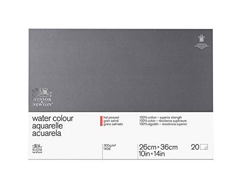 Winsor & Newton Professional Watercolor Paper Block, Hot Pressed 140lb, 10'x14', White