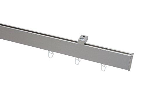 Garduna EXKLUSIV rechteckige Gardinenstange Innenlauf Nickel-matt/Edelstahl-Optik # Deckenbefestigung - 200cm