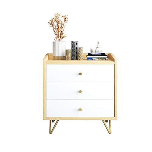 N / E Nightstand Side End Table Rack, Small Storage Locker, Nightstand Side Table, with Metal-Leg and 3-Drawers, for Living Room, Bedroom