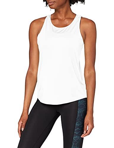 Marca Amazon - AURIQUE Camiseta de Deporte de Tirantes de Doble Capa Mujer, Blanco (White), 40, Label:M