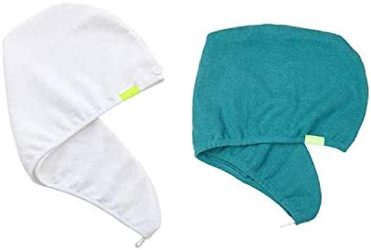 AQUIS Original Hair Turban Set of 2 Perfect Hands Free Microfiber Hair Drying White and Jungle product image