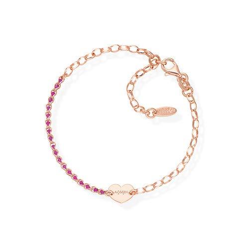 Amen bracciale argento 925 placato rosa brcricurr Cuore Catena di Cristalli heart