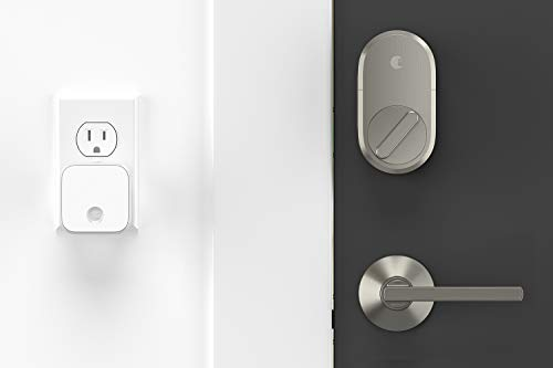 August Smart Lock + Connect Wi-Fi Brige, Satin Nickel, Works with Alexa. Keyless Home Entry from Anywhere.