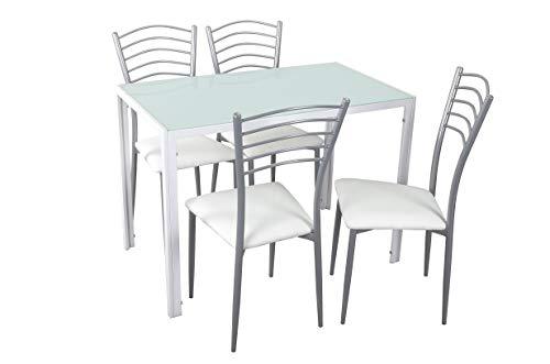 Noorsk Design Conjunto de Mesa y sillas de Cocina (105x60x75) (Blanco-Blanco)
