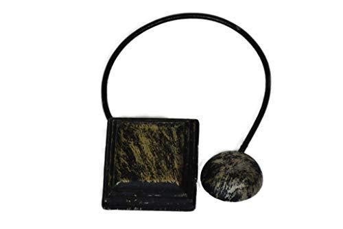 Gustav Gerster Raffhalter mit Magnet Gardinenhalter Vorhanghalter Gardinenschmuck Magnet – Raffhalter zum Zusammenraffen Antik-Look Spannweite ca.20 cm schwarz-Gold