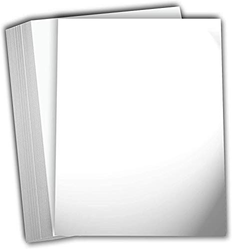 """Hamilco White Glossy Cardstock Paper - 8 1/2 x 11"""" 80 lb Cover Card Stock - 50 Pack"""