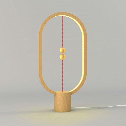 Allocacoc Heng - Design LED Lampe - Ausgefallene Leuchte für Wohnzimmer | Schlafzimmer in hochwertigem stabilen Holz mit USB Anschluss in warm weißem Licht