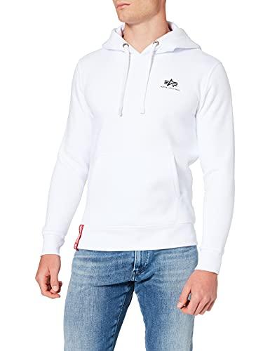 ALPHA INDUSTRIES Herren Basic Hoody Small Logo Sweatshirt, White, M