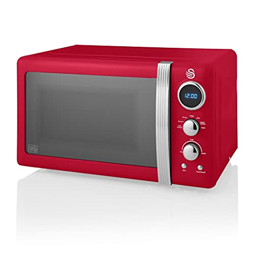 Swan SM22030RN Retro Digital Microwave, 800 W, Red