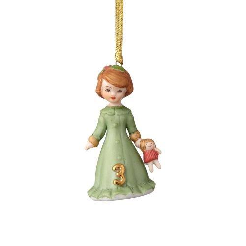Department56 Enesco Growing Up Girls Brunette Ornament - Age 3, Multicolor