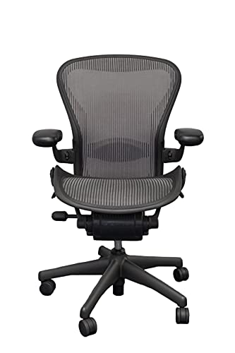 Aeron Size B Fully Loaded Adjustable Lumbar Pad Lead Grey Office Chair |Ergonomic Footrest Included (Renewed)