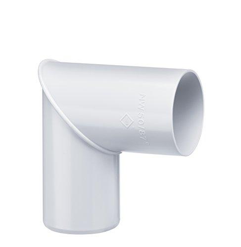 INEFA Rohrbogen, winkel für Fallrohr, 87 Grad Weiß DN 50, 1Stück - Kunststoff, Fallrohrbogen, Winkel für Regenfallrorhr, Rohr Fallrohr - Verbinder, Zubehör, Rohrverbinder Regenrinnen