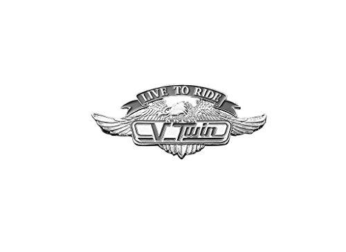 V Twin Live to Ride mit Adler zum Aufkleben Emblem 55 mm breit Zinklegierung