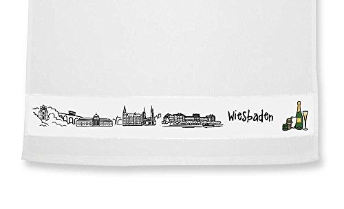 die stadtmeister Geschirrtuch Skyline Wiesbaden - als Geschenk für Wiesbadener & Fans Wiesbadens oder als Souvenir