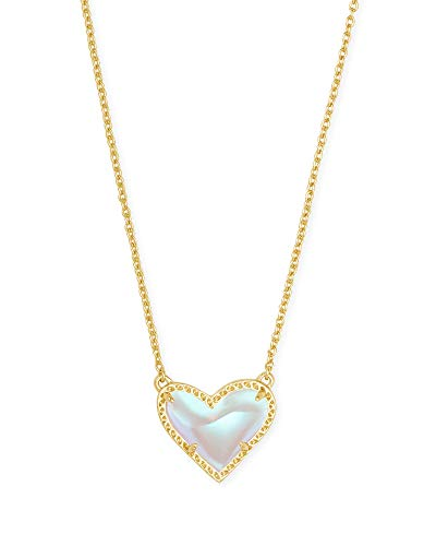 Kendra Scott Ari Heart Pendant Necklace for Women, Fashion Jewelry, 14k Gold-Plated, Dichroic Glass