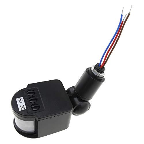 DC 12V Automático PIR Sensor de Movimiento Sensor Inteligente Interruptor Negro 180 Grados Rayos Infrarrojos Cuerpo Humano Inductor para Luz LED