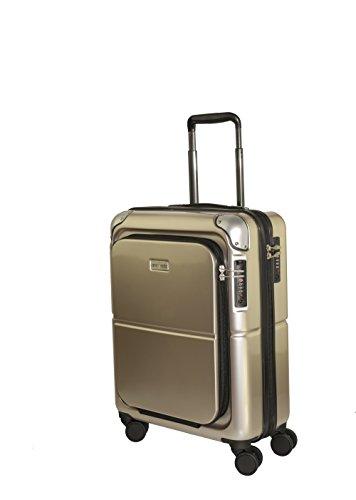 Amoveda Handgepäck Trolley Koffer mit Waage im Griff, Powerbank,TSA, Notebookfach, 4 Rollen, Erweiterbar, 55cm | 100% PC Hartschale | Metallic - Champagn