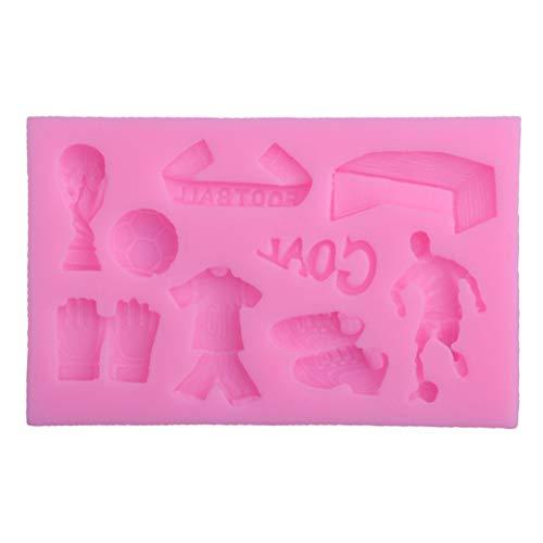 Silikonform mit Fußballer-Silhouetten für Kuchendekoration, Basteln, Cupcakes, Süßigkeiten, Schokolade, Karten und Ton, lebensmittelecht