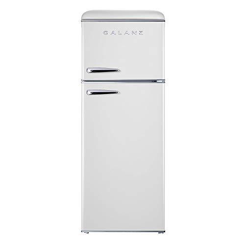 Galanz GLR76TWEER Retro Top Mount Refrigerator, Dual Door Fridge, Adjustable Mechanical Thermostat with True Freezer, 7.6 Cu.Ft, White, Cu Ft
