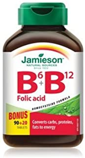 Jamieson B6 + B12 and Folic Acid, 110 tabs Bonus Size