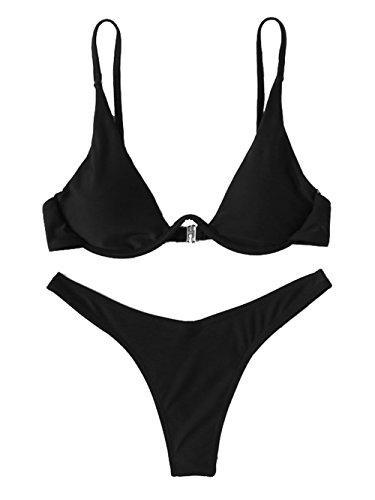 Verdusa Women's Sexy Triangle Bathing Two Pieces Swimsuit Bikini Set Black M