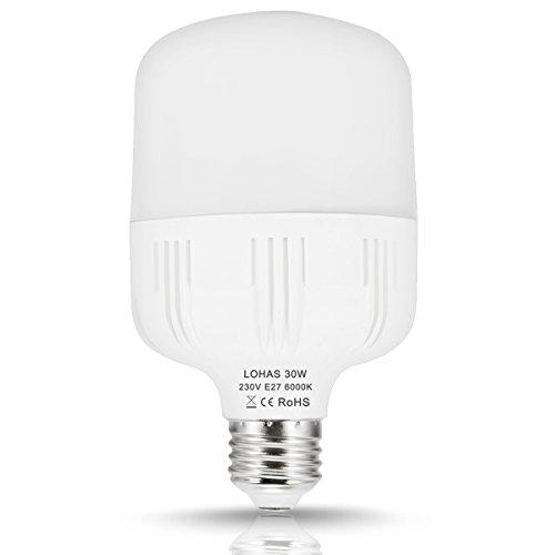 LOHAS Lampadina LED E27, 30 W Equivalenti a 260 W, GiornoBianco 6000K, 3400Lm, non Dimmerabile, Confezione da 1