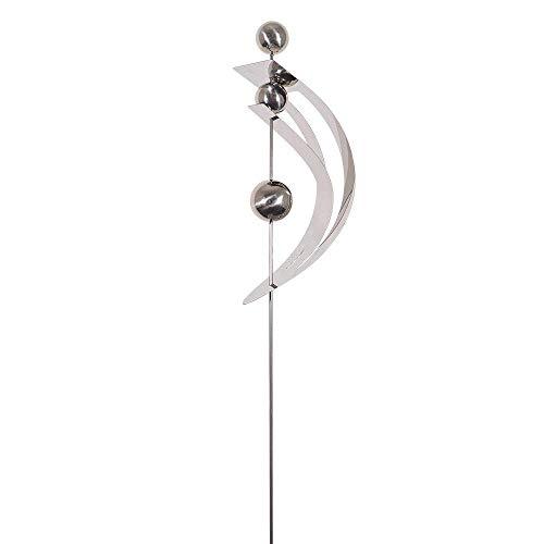 CIM Gartenstecker - Mirror 3K Edelstahl Spange S – Abmessung: 12,5 x 8 x 80cm – mit hochglanzpolierten Edelstahlkugeln – Vielseitige Haus und Gartendekoration