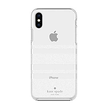 kate spade new york Charlotte Stripe Case for iPhone Xs Max - White Glitter/Clear Protective Hardshell