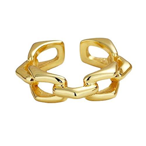 HCMA 925 Anillos de Cadena geométrica de Plata para Mujeres y Hombres Anillos de Oro de Personalidad Simple