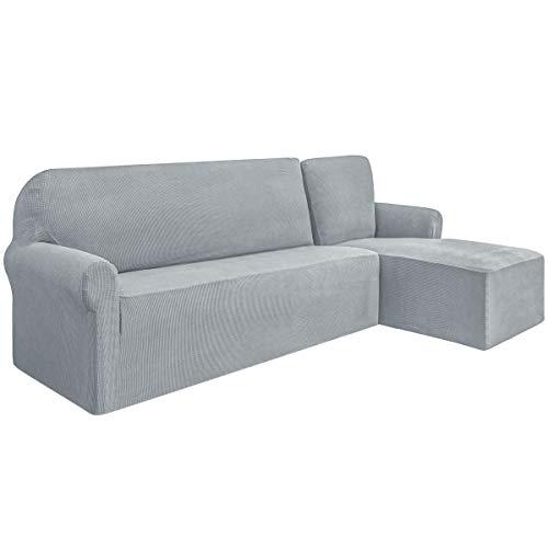 SU SUBRTEX L Shape Sofa Cover Stretch Spandex Jacquard Fabric Sofa Slipcovers Furniture Protector for Living Room (Right Chaise,Light Grey)